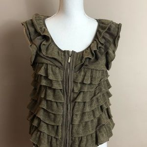 Ryu Anthropologie brown ruffled vest small